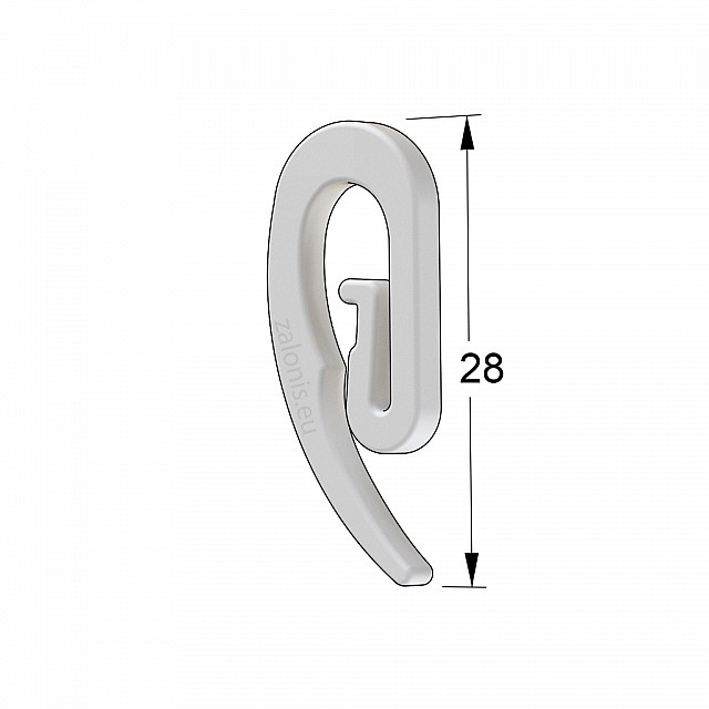 CURTAIN RAIL PLASTIC WHITE HOOK